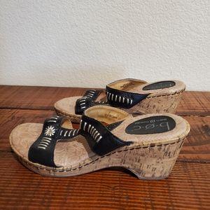 B.O.C. Black Aztec Hippie Boho Wedge Cork Sandals